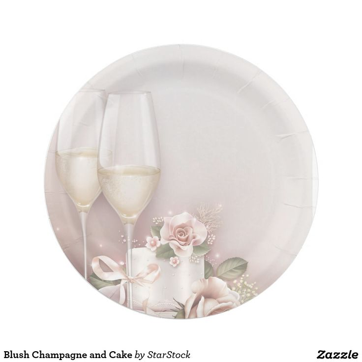 Blush Ch&agne and Cake Paper Plate  sc 1 st  Pinterest & 113 best Wedding Paper Plates images on Pinterest | Wedding paper ...
