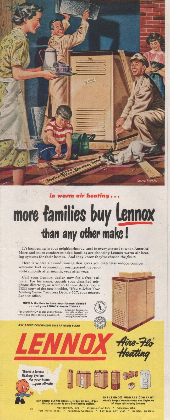 1950 Vintage Lennox Furance Aire Flo Heating More Families Buy Print Ad | eBay