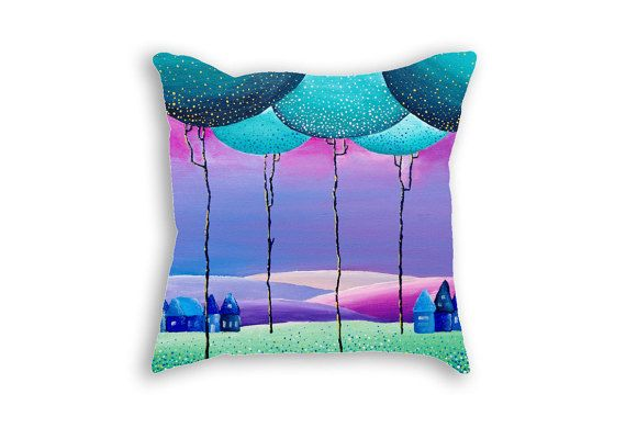 Decorative pillow cover - Purple Mint Green Children room -Decorative covers - Throw pillows - Nature art - Landscape print on pillows case 18x18