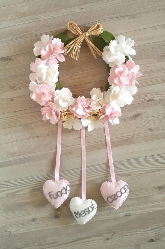 Pembe-Krem Çiçekli Kapı Süsü