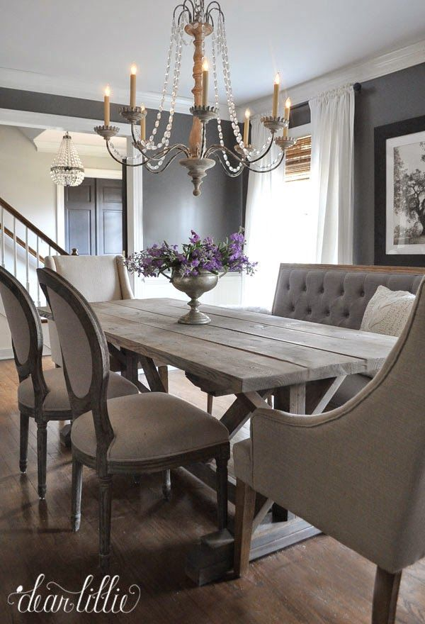 Pair traditional dining chairs with a rustic table for a Shabby Chic look. Keep the colours neutral and the fabrics light.