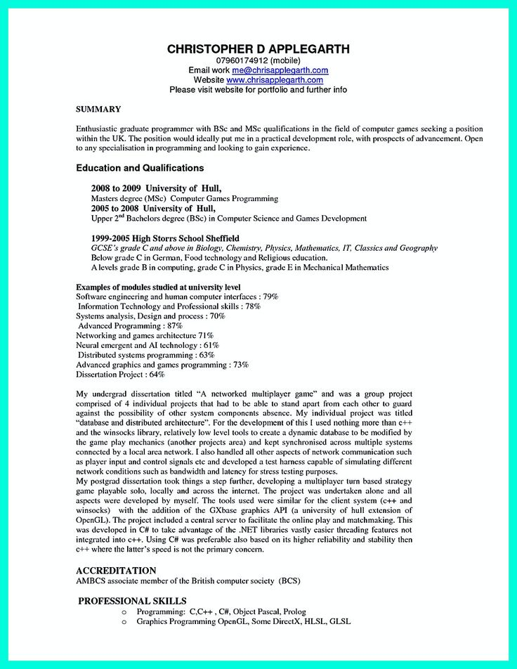 What You Will Include In The Computer Science Resume Depends On The Training As Well As The Previous Experience You Will Write If You Are A Fresh Gra