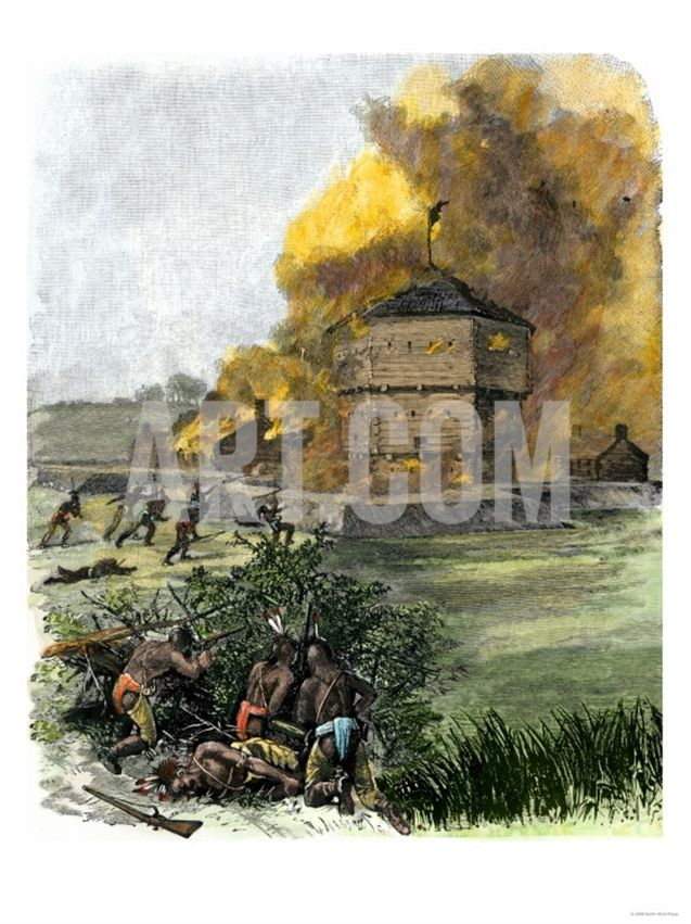 Attack on Fort King by Native Americans under Osceola during the Seminole Wars, c.1835