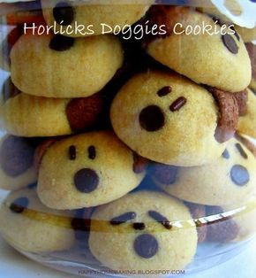 Horlicks Dog Cookies(makes about 48)  3/4C butter, soften at room temperature) 1/3C Horlicks (Malted milk powder) 3/4C + 1/8C  cake flour 1T + 2t corn flour (corn meal) 1T + 2t milk powder 7 oz mini chocolate chips-nose some chocolate rice (sprinkles)-eyes some Koko Krunch (Cocoa Puffs)-Ears