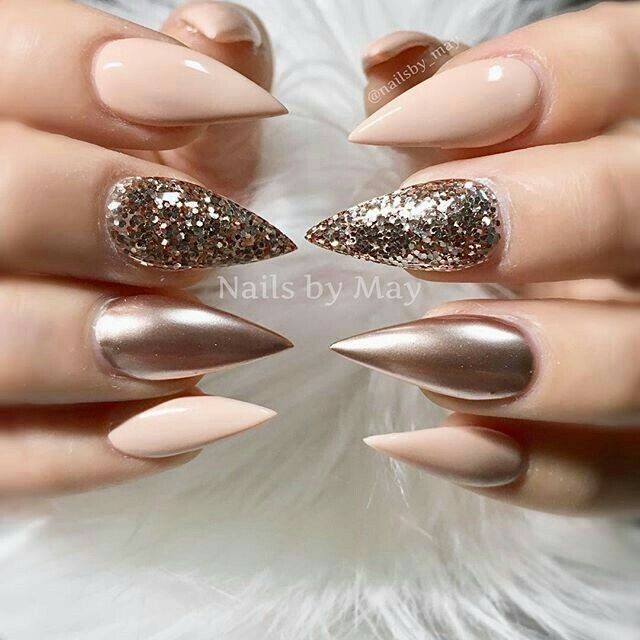 Gorgeous metallic glitter + matte nude nails = love  Love love love these colors