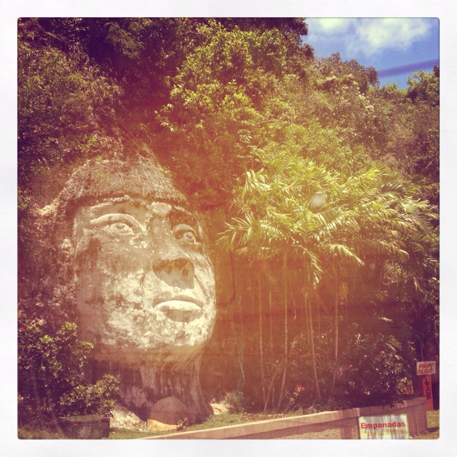 Taino face carving near Rincon, Puerto Rico