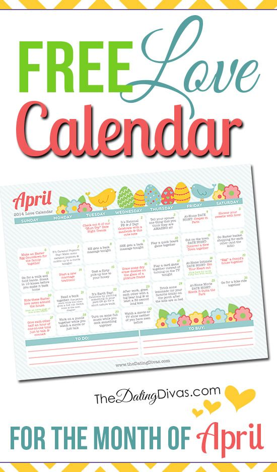 LOVE this!  A printable calendar with a little love assignment every day. It even has links to date ideas and romance tips. So you can intentionally love your spouse for a whole month! www.TheDatingDivas.com
