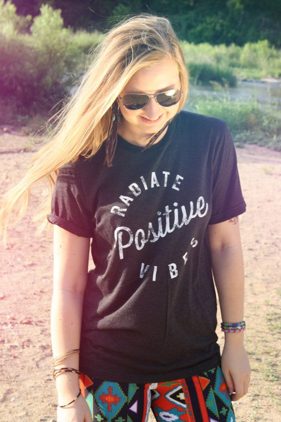 SMALL Radiate Positive Vibes for the Free Spirit Bohemian. 90s grunge hippie t-shirt. Heather black Unisex shirt with white ink.