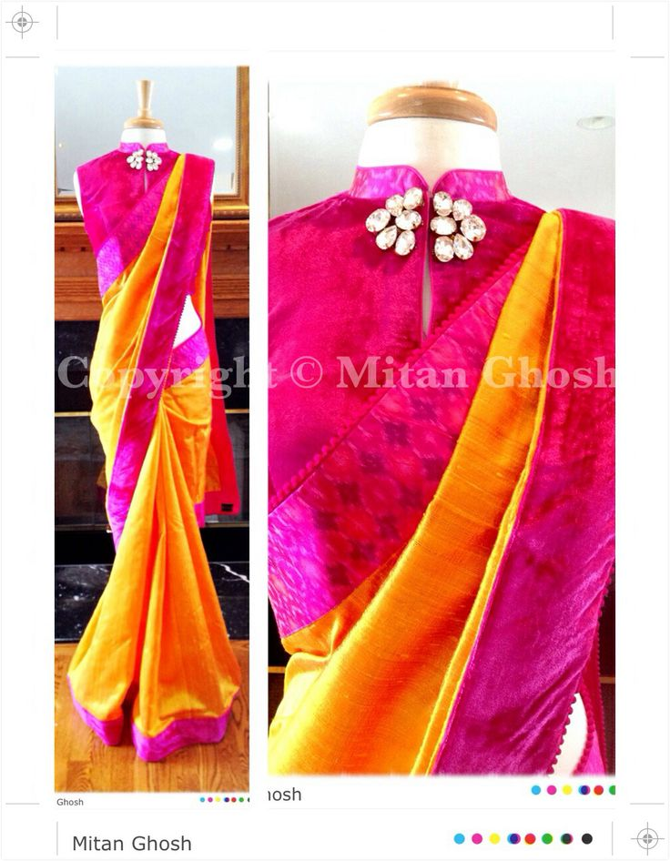 Silk saree with ikat and velvet border.