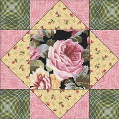 "Quilt Magazine | Quilt Magazine » Blog Archive » QUILT#73 – King's Crown free pattern, This block is great for fussy cutting from your favorite fabric. From the ""Rose Lace"" collection by Northcott Fabrics, www.northcott.net"
