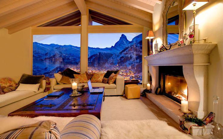Chalet Grace - Zermatt, we love the ceiling to floor windows overlooking the Matterhorn.  Available from Firefly Collection. #luxuryskichalet #cosy #matterhorn
