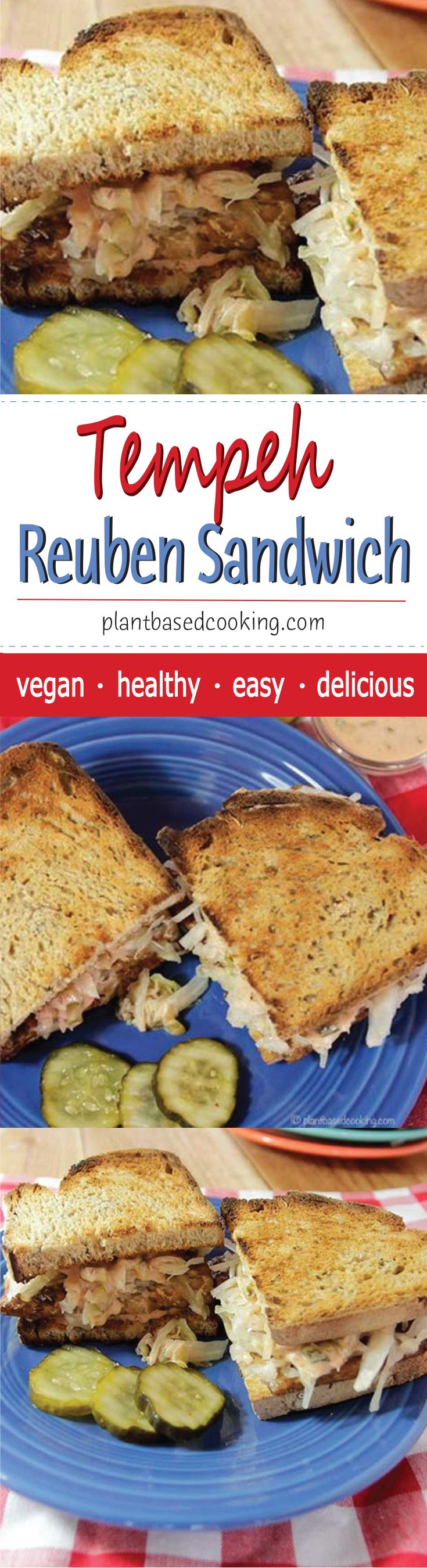 Tempeh Reuben Sandwich - This vegan version of a reuben sandwich is every bit as satisfying as the original and may boost the health of your gut bacteria. #plantbased #vegan #wfpb #healthyfood