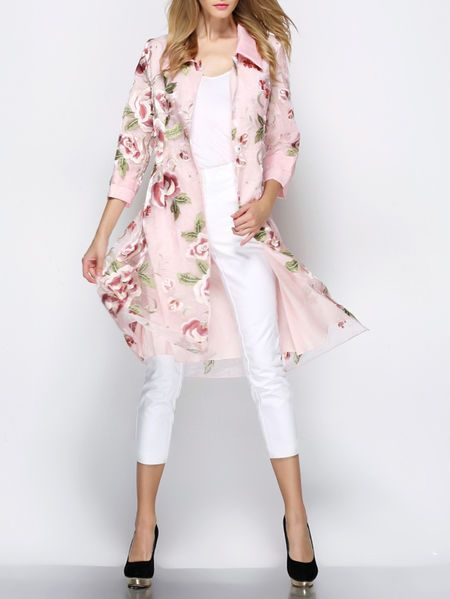 Embroidered Organza Trench coat