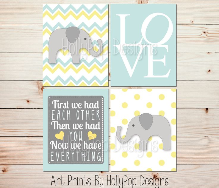 Elephant Nursery Art First We Had Each Other Mint Yellow Gray