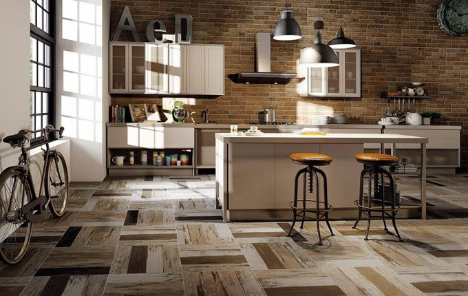Wood effect porcelain tile: Bistrot Multicolour 478x478mm, suitable for walls and floors