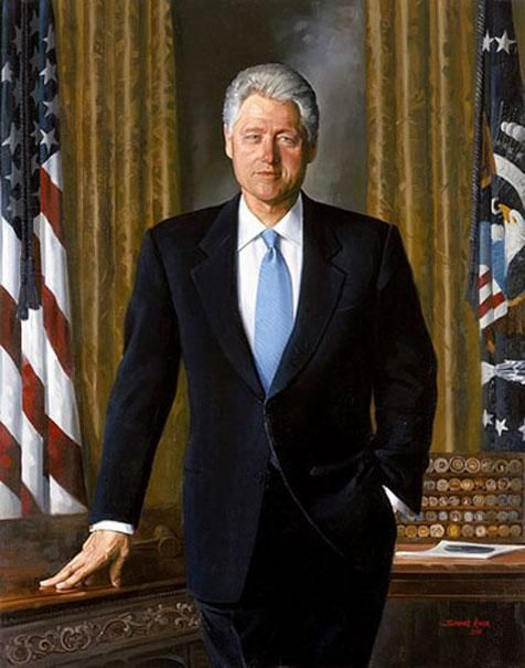 """Official White House Portrait of William Jefferson """"Bill"""" Clinton ~ 42nd President of the United States. (Term: 1993-2001). In 1978 he won the governorship of Arkansas becoming the youngest governor the country had seen in 40 years.  Bill Clinton was the second president to be impeached.  He oversaw the country's longest peacetime economic expansion."""