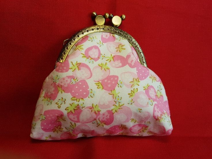 Strawberry print kiss-lock purse, entirely handstitched