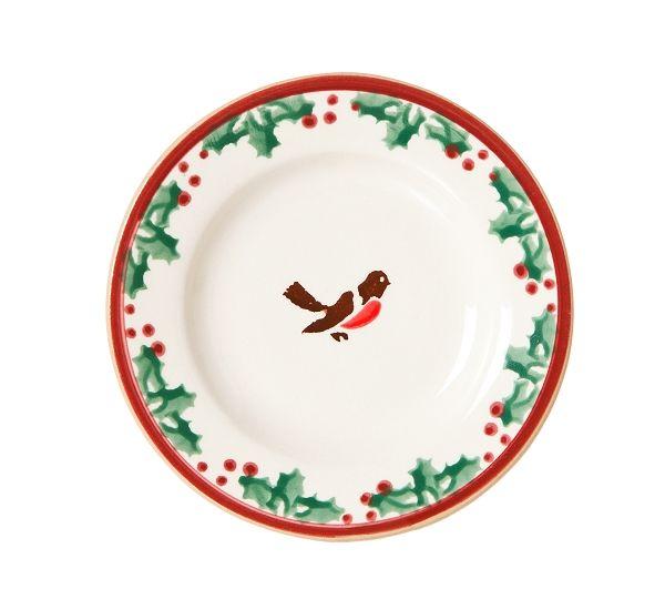 "Winter Robin Tiny Plate. Measurements:  13cm dia (5.1"" dia)"