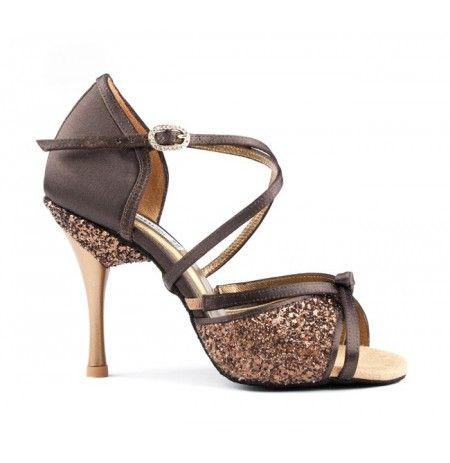 Chaussures danse glitter marron