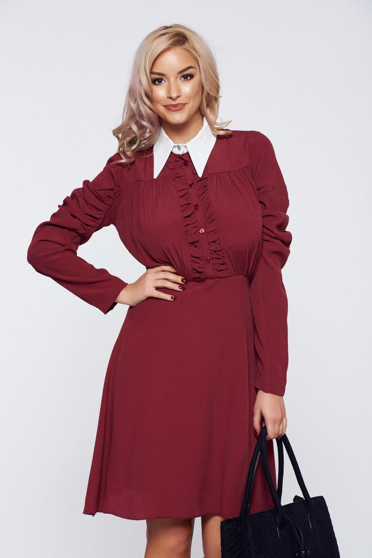 PrettyGirl burgundy elegant daily dress with pointed collar and wrinkled texture, back zipper fastening, with buttons, top wrinkled sleeves, long sleeves, pointed collar, inside lining, wrinkled texture, nonelastic fabric