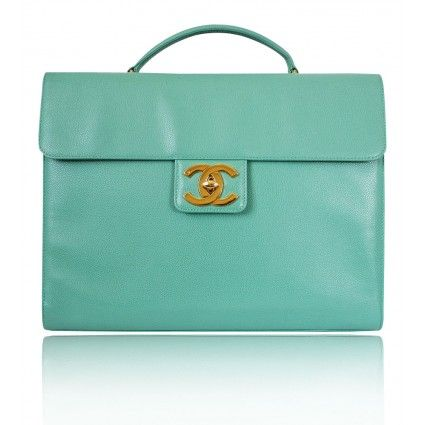 I found my briefcase!!!  Chanel Emerald Green Laptop Business Bag