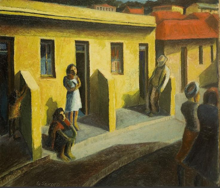 Gerard Sekoto (1913-1993) - Yellow Houses, District Six, 1942
