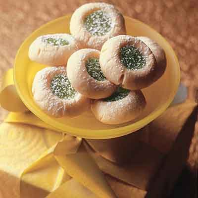 Thumbprint cookies are filled with a luscious lime cream filling.