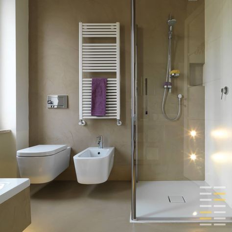 Il Microcemento è un materiale innovativo che permette di creare forme e superfici continue, ideali sia per la pavimentazione, sia per la ristrutturazione di abitazioni o spazi commerciali, offrendo prestazioni e caratteristiche uniche. Grande resistenza all'umidità, al clima e all'usura, facilità di mantenimento e pulizia in soli 3 millimetri di spessore. #microcemento #piacenza #sinergho #design #bagno #bathroom #beige #moderno #sanitari #relax #benessere #doccia #moderna