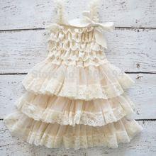 Детское платье. Качественное детское кружевное платье с цветами. Нарядное, многослойное кружевное платье цвета слоновой кости(China (Mainland))