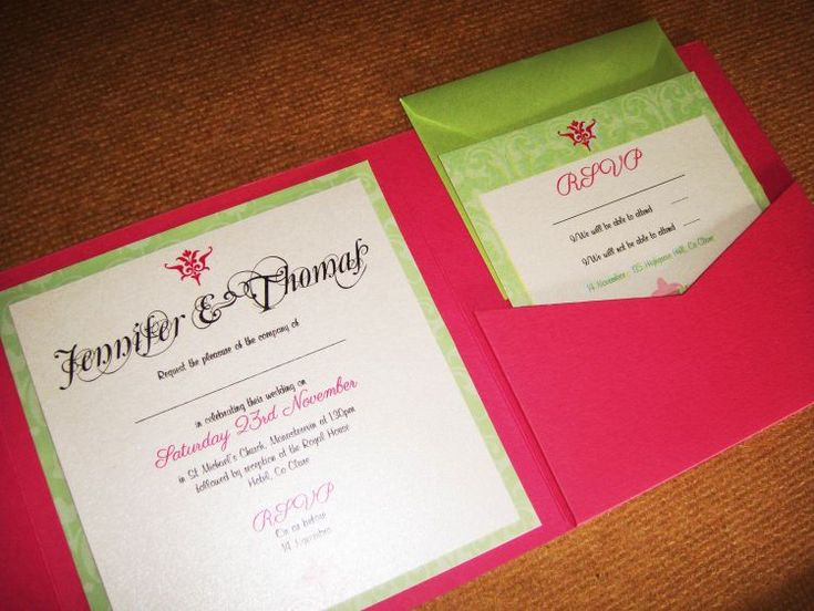 Pink pocketfold envelope matched with lime backing card and topped with a crisp white insert. http://www.justaddyou.ie/