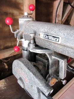 new yankee workshop radial arm saw. red phenolic ball knobs on dewalt 1030 radial arm saw new yankee workshop