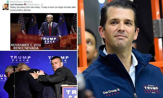 Donald Trump Jr retweets claim that his father's Reno security scare was an 'assassination attempt' | Daily Mail Online