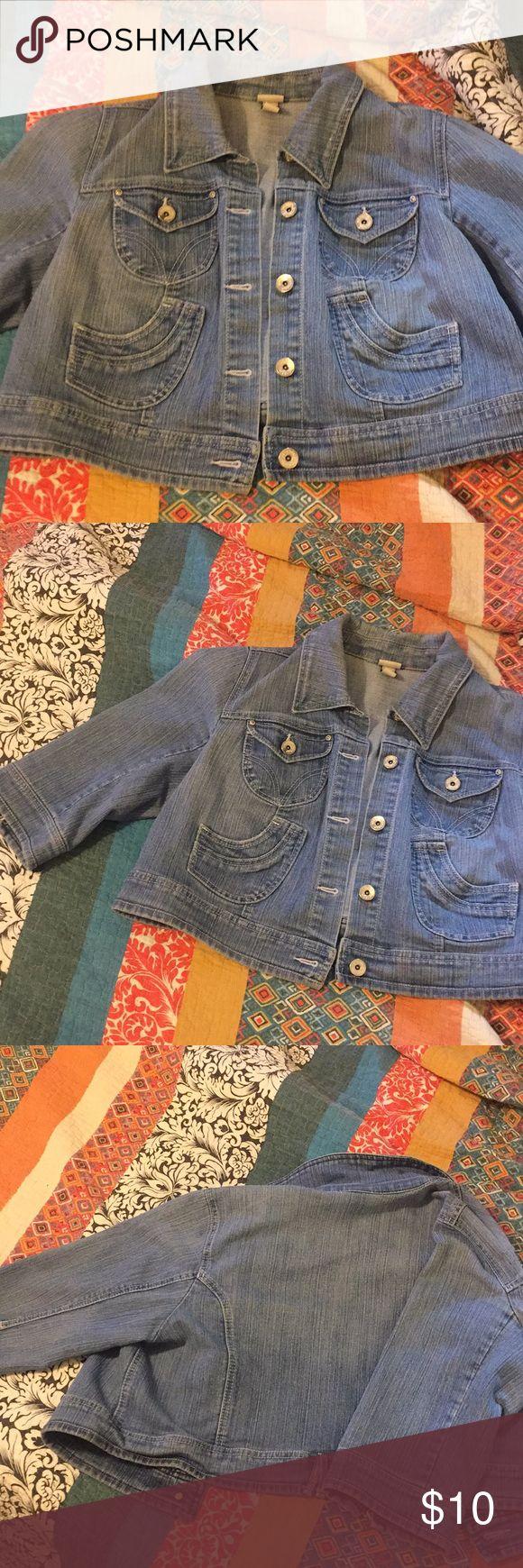Light wash short 3/4 sleeve jean jacket Light wash Venezia plus sized 3/4 sleeve stretchy jean jacket size 18/20 Venezia Jackets & Coats Jean Jackets