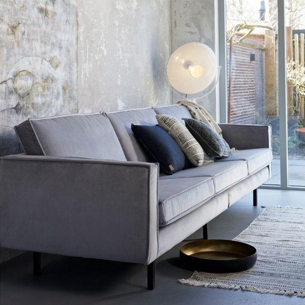 3 Sitzer Sofa Rodeo Samt Hellgrau Couch Mobel Haus Deko Haus