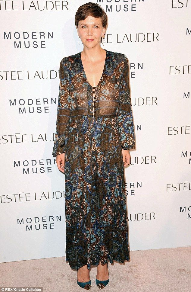 Whoops! Maggie Gyllenhaal revealed a bit too much as she went bra-less under a sheer dress at the Estee Lauder Modern Muse fragrance launch ...