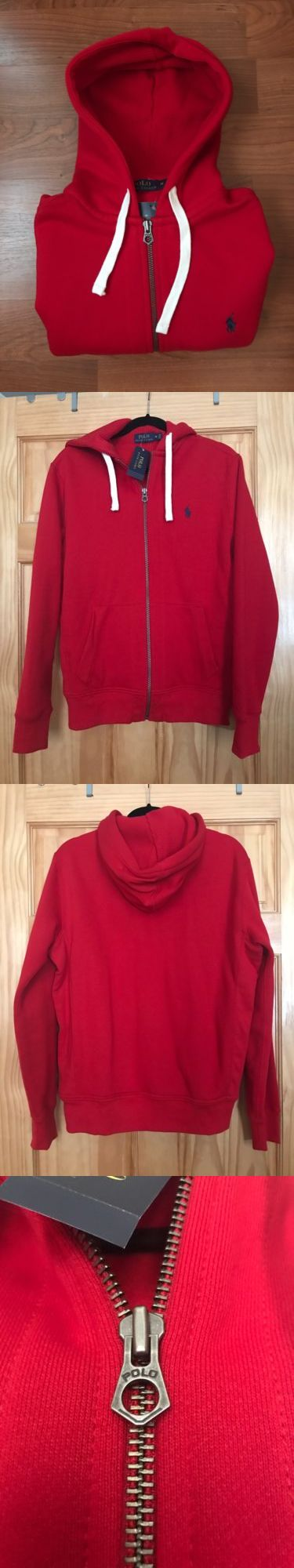 Sweats and Hoodies 155183: Nwt Polo Ralph Lauren Hoodie Men S Medium Red Zip Up Sweatshirt New -> BUY IT NOW ONLY: $59.95 on eBay!