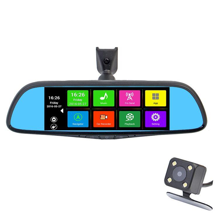 "Khusus Mobil DVR Kamera 7 ""Layar sentuh Cermin Spion GPS Bluetooth 16 GB Android 4.4 Dual Lens FHD 1080 p Video Recorder Dashcam"