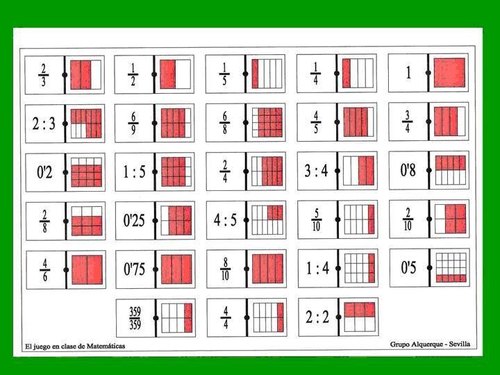 Domino De Fracciones Grupo Alquerque Math Games Math Games