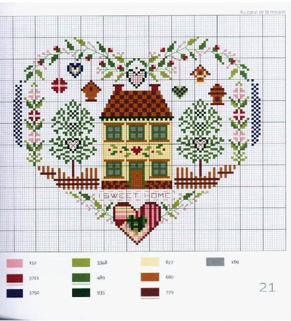 Cross-stitched house in heart