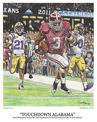 -Celebrate the Crimson Tide's dominant 2012 BCS Championship Game performance as the Alabama Crimson Tide destroys LSU in New Orleans this past January.  It features star Heisman Trophy Finalist Trent Richardson as he scores the lone Touchdown in both battles between the Tigers and the Tide this past season!    -Each 16″ x 20″ Limited Edition fine art print is numbered #1-103 and signed by the artist.    http://scottmbrannanart.com/purchas-touchdown-alabama-now/: Championship Games, Bcs Championship, Editing Prints, Domination 2012, Art Prints, Fine Art, Alabama Crimson Tide, 2012 Bcs, Editing Fine