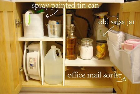 under sink organizer! i love the spray bottles hanging from a little towel bar
