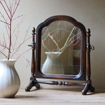 This Tabletop Mirror Conveniently Sits In Its Own Turned Wood Stand An Antique It Would Make The Most Of Si Pinteres
