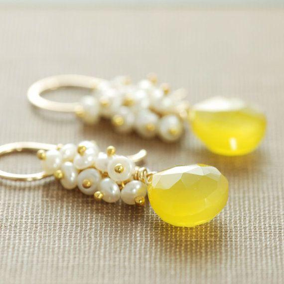 Yellow Gemstone Earrings 14k Gold Fill Pearl Clusters, Gold Dangle Earrings, aubepine