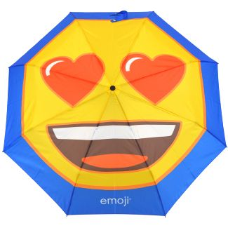 Emoji Heart Eyes Auto Open & Close Folding Umbrella - Blue