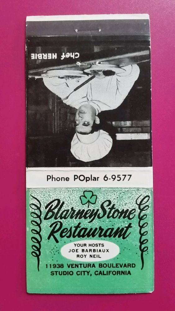 BLARNEY STONE RESTAURANT STUDIO CITY, CALIFORNIA Matchbook Matchcover in Collectibles, Paper, Matchbooks | eBay
