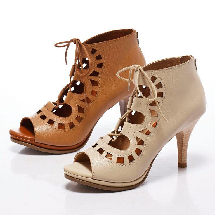 1-2780 Fair Lady 狂野鏤空繫帶露趾高跟涼鞋 米 - Yahoo!奇摩購物中心