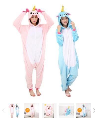 Walson clothing Unisexe Animal Onesie Pajamas Cosplay Deguisement Costume (Bleu Licorne)