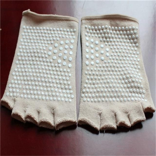 Women Open Toes Non-skid Socks Dance Workout Exercise Five Fingers Sock Massage Fitness Dots Warm Soft Feet Protection