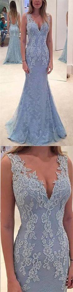 Elegant Lace Evening Dress, Blue Prom Dress, Long Prom Dress, Lace Prom Dress, Charming Evening Party Gown, Mermaid Formal Dresses https://bellanblue.com