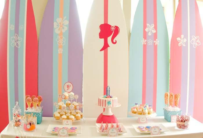 adorable surf barbie birthday party
